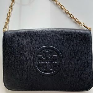 Tory Burch black pebbled clutch with gold chain